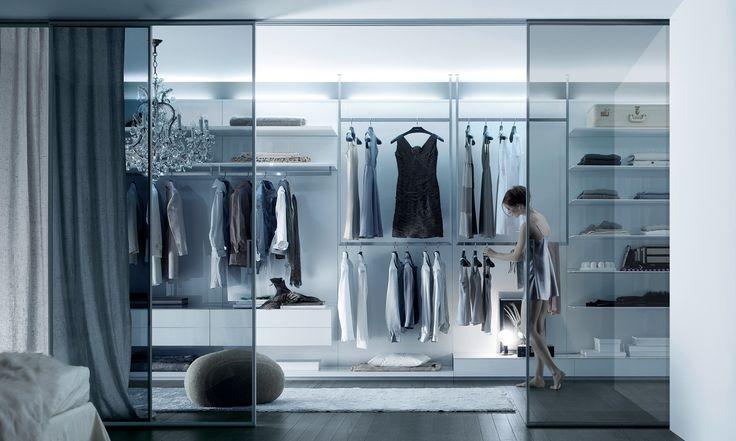 Rimadesio - Abacus sistema componibile per cabina armadio in vetro e alluminio, guardaroba, zona notte, arredamento casa - walk-in_closet - Rimadesio | ♥