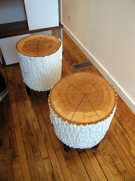 log stools (on wheels w/ finished tops & painted bark)  by trn