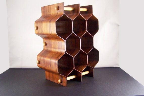 Mid Century Swedish Honeycomb Bentwood Wine Rack, Birch and Rosewood