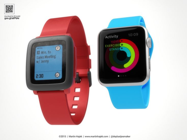 Comparing the new PEBBLE time to the new Apple Watch - 3D model here: http://goo.gl/atP6Ar