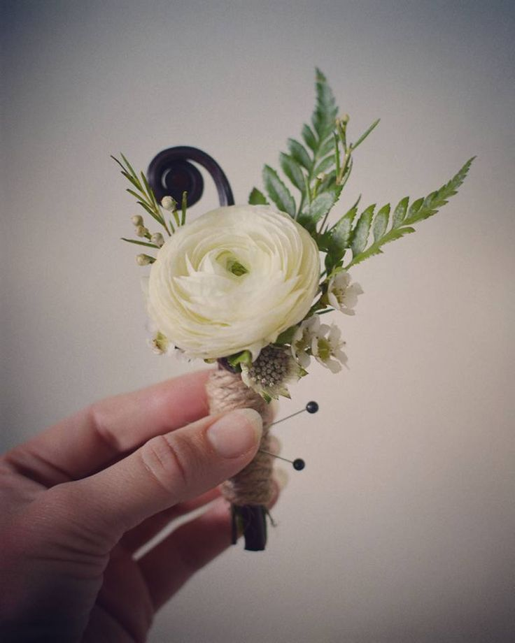 Wildwood Floral Co - twine, white ranunculus, fern, and fiddlehead fern groom's boutonniere