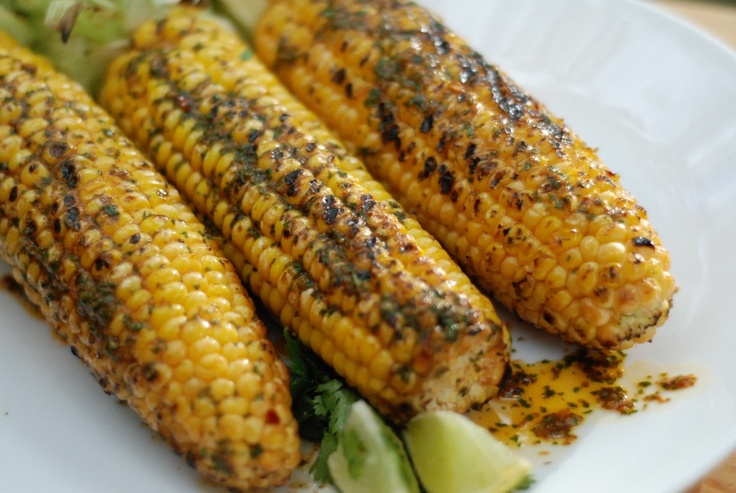 Char Grilled Corn with Mexican Spicy Butter and Lime