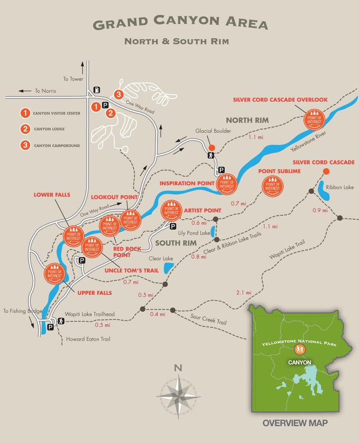 Canyon Area Trail Map - Yellowstone National Park Silver Cord Cascade Overlook! 1,200 ft horsetail waterfall