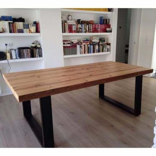 mesa tük. industrial de madera y hierro grande comedor.