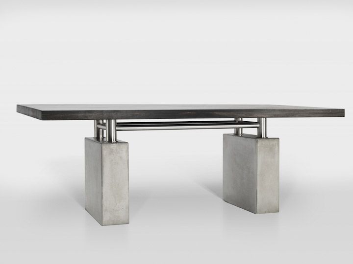 SOLID.NY is more of a symbol than a regular table. It symbolises strength, stability and charisma. It's presence is driven by the functional and representative factors as well as from the materials used for its construction. Concrete base with steel frame and a solid wooden tabletop refer to architecturral principles and give the unique, strong character.