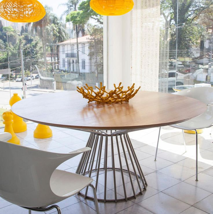 Modloft Carlisle Dining Table With Stainless Steel Base