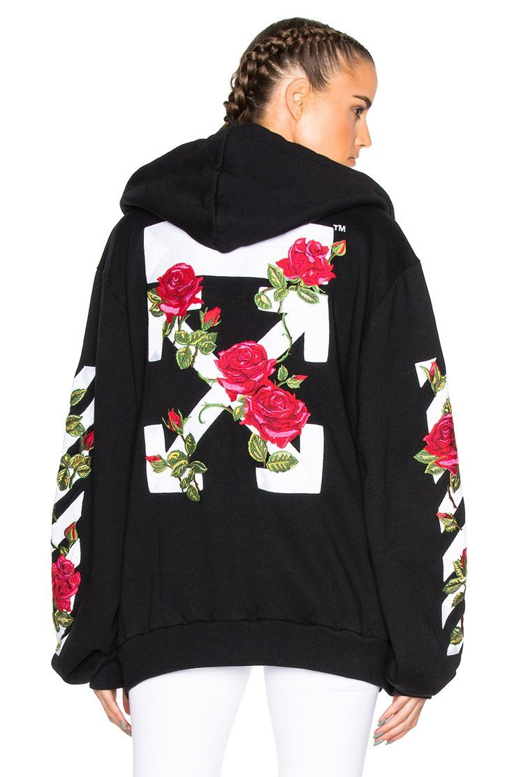 b73cbf3bc271 Image 1 of OFF-WHITE Roses Hoodie in Black Multi   Love Fashion in ...