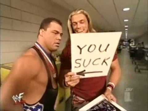 Classic WWE moment between two WWE Hall of Fame Superstars Edge and Kurt Angle #WWE #WWEHOF #wweclassic