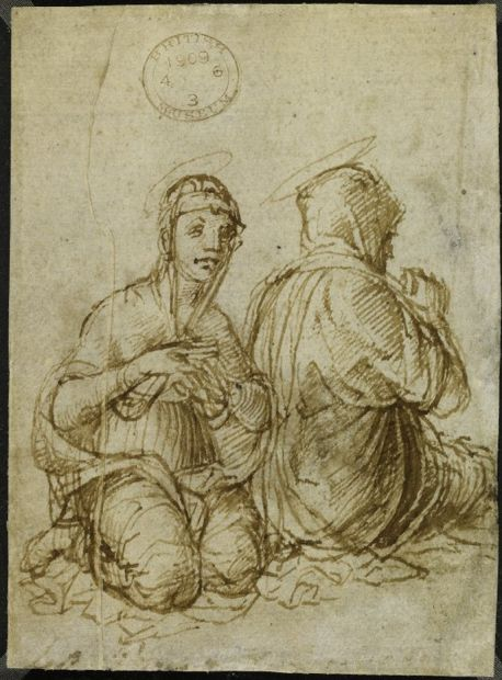 Screen Shot 2013-10-22 at 23.45.19. Mantegna. Two Holly women, seated on the ground, one seen from behind(verso). Beitish Museum.