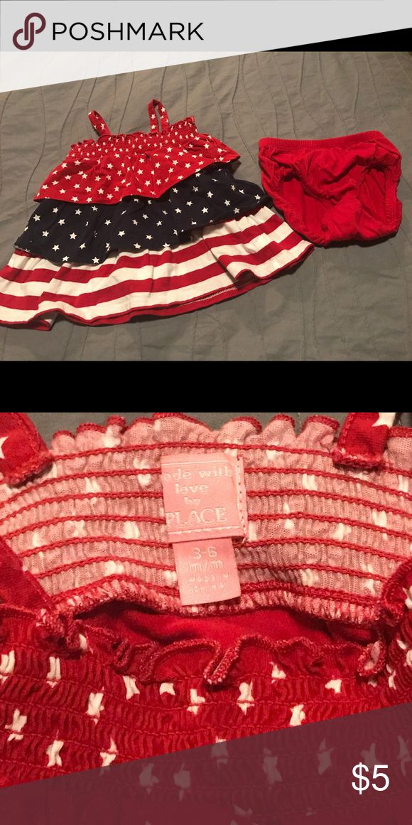 Patriotic dress & diaper cover Red, white & blue flag dress.  Size 3-6 months - perfect for Memorial Day or July 4! This dress was only worn once its in Excellent used condition! Children's Place Dresses Casual