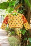 Yellow high U neck blouse with shibori silk sleeve