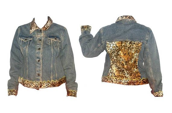 Womens Vintage Leopard Denim Jacket 90s Animal Print Oversized