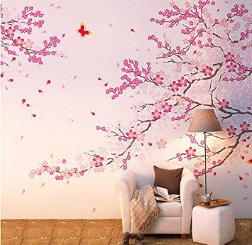 YYone® Large Size Plum Blossom Cherry Blossom Flowers Tree Wall Decals Flowers Wall Decal Tree Wall Art Mural