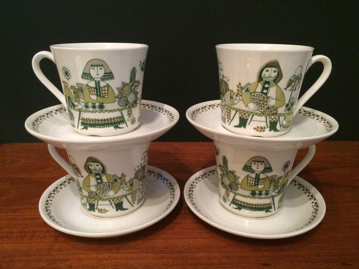 Figgio Flint Norway Tea Cup & Saucer Set of Four Market Pattern