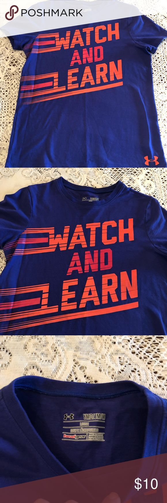 Under Armour girls t shirt EUC youth medium Under Armour girls t shirt EUC youth medium No holes or stains see pics Under Armour Shirts & Tops Tees - Short Sleeve