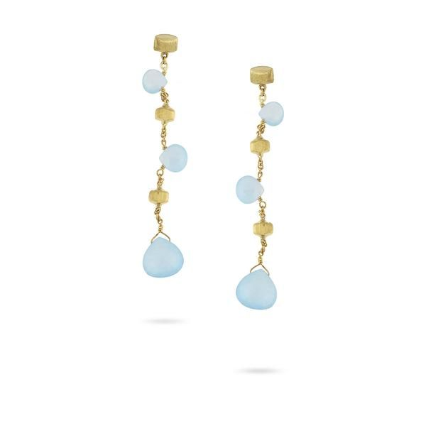 """18K yellow gold drop earrings with tabeez cut Aquamarine gemstones. A timeless and playful Marco Bicego classic, these Paradise Aquamarine Gemstone Earrings are hand engraved by Italian artisans and composed of hand picked stones. Earring length: 2.25""""."""