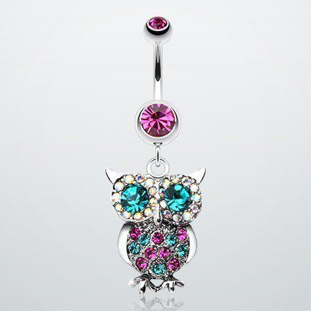 Jeweled Sparkling Owl Dangle Belly Ring ($12.95)