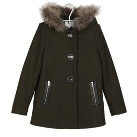 Manteau capuche fourrure Kaki SANDRO FEMME - Boutique en ligne SANDRO - Collection Automne Hiver 2013/2014 - Place des Tendances.