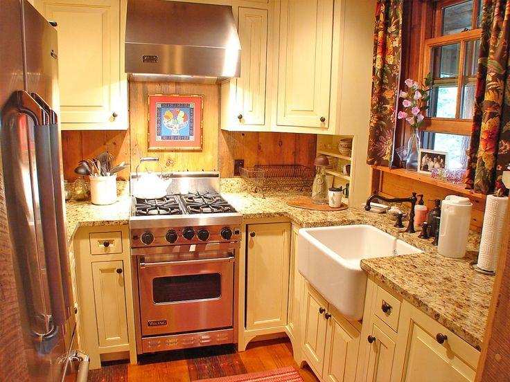 Tiny and charming kitchen in North Carolina cabin