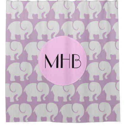 Monogram - Troop Of Elephants - Gray Purple Pink Shower Curtain - monogram gifts unique custom diy personalize