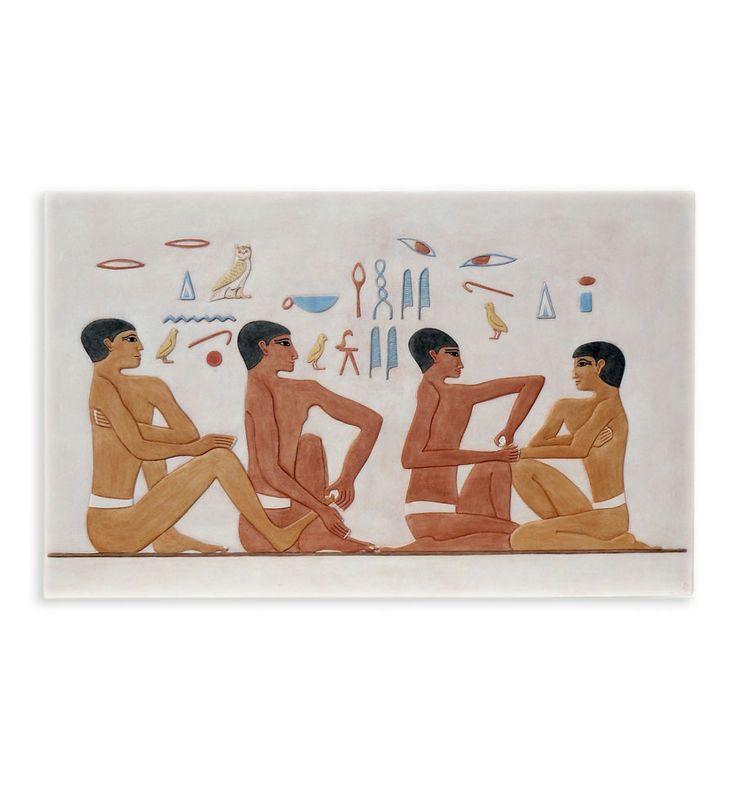 Relieve Reflexología Egipcia | Figura egipcia policromada | Artesanía