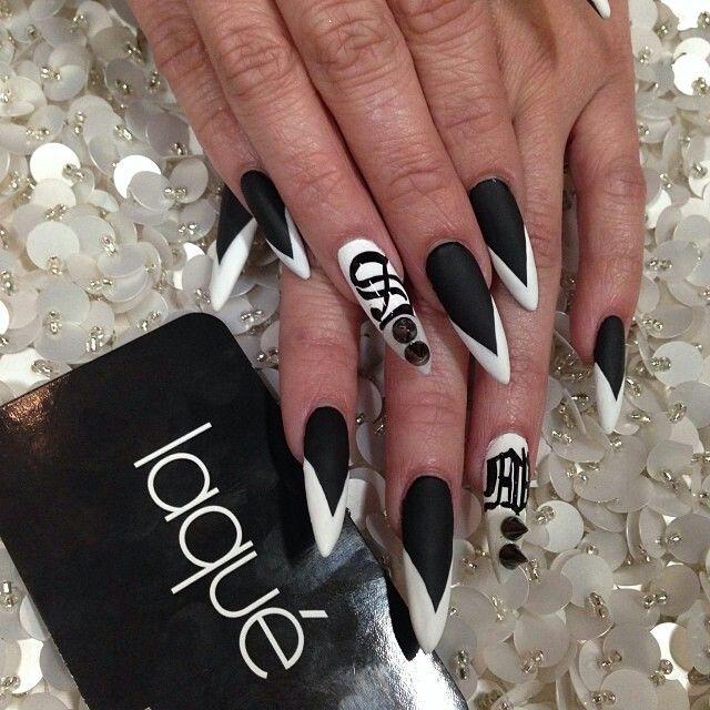 Laquer Nail Bar: Black And White Matte Stiletto Nails By: Laqué Nail Bar