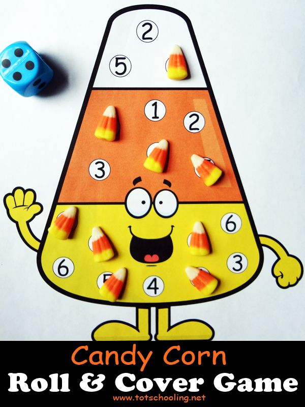 candy corn roll cover math game - Halloween Art For Kindergarten