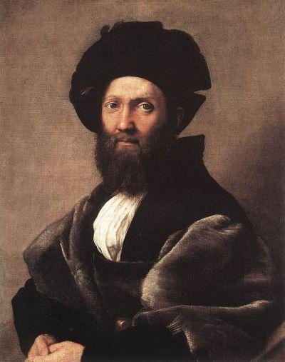Raffaello Santi, Ritratto di Baldassarre Castiglione, 1514 - 1515, olio su tavola, Musée du Louvre, Lens.