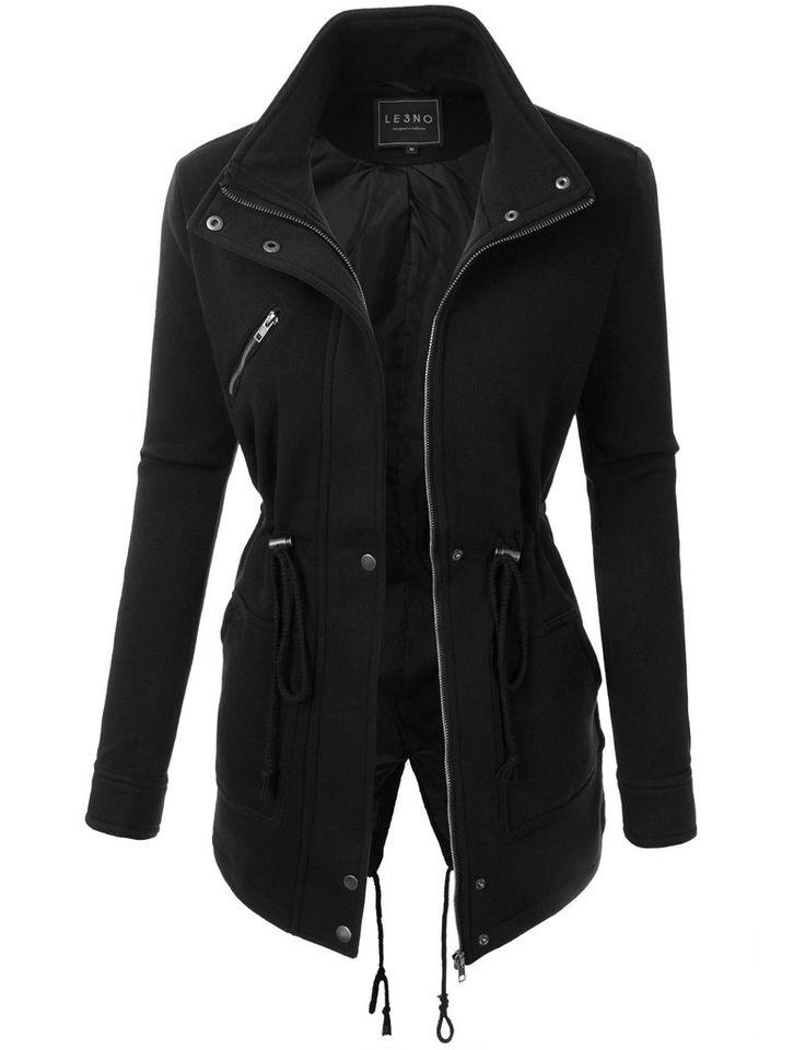 LE3NO Womens Long Sleeve Fleece Parka Coat Jacket with Pockets