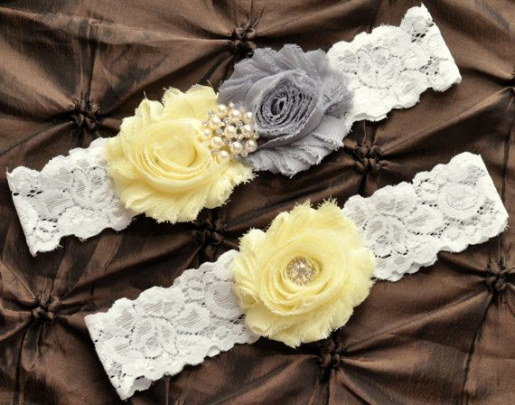 Wedding Garter Belt, Bridal Garter Set - Lace Garter, Keepsake Garter, Toss Garter, Shabby Gray Light Yellow Wedding Garter, You Pick Colors...