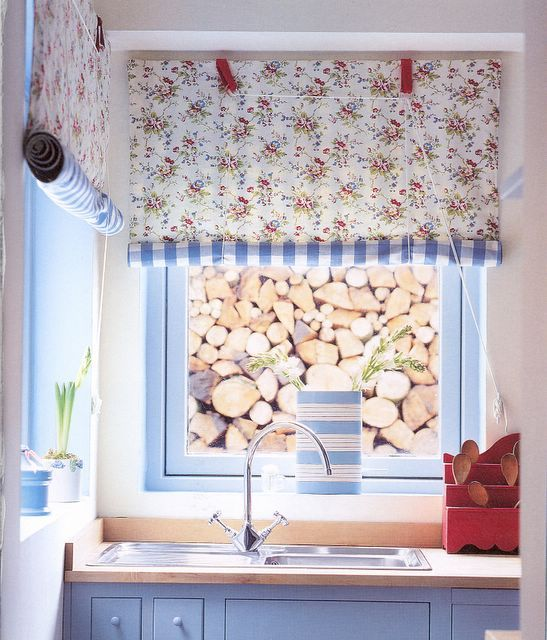 Roll up curtains - Gingham fabric on one side and floral on the other side -  Katrin Cargill - Love it!