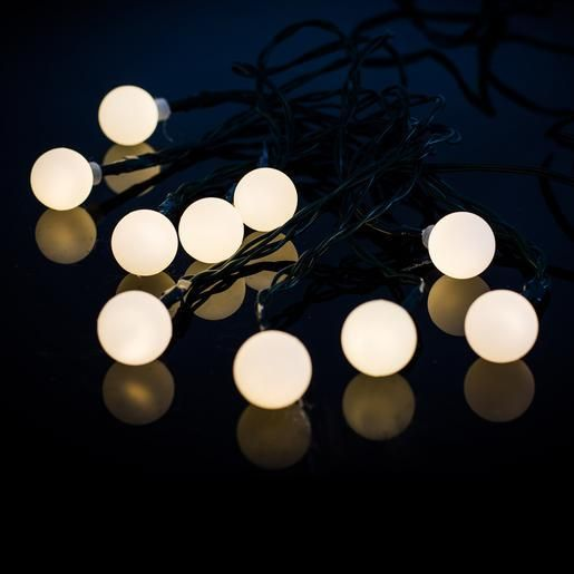 Guirlande solaire 10 lampions à LED - Plastique et métal - 380 cm - Blanc