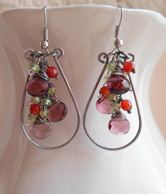 Irma gemstone chandelier earrings cluster dangle cascade hoop
