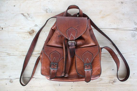 Cute Small Brown Leather Backpack Shoulder Bag by JeannetteVintage, €38.00