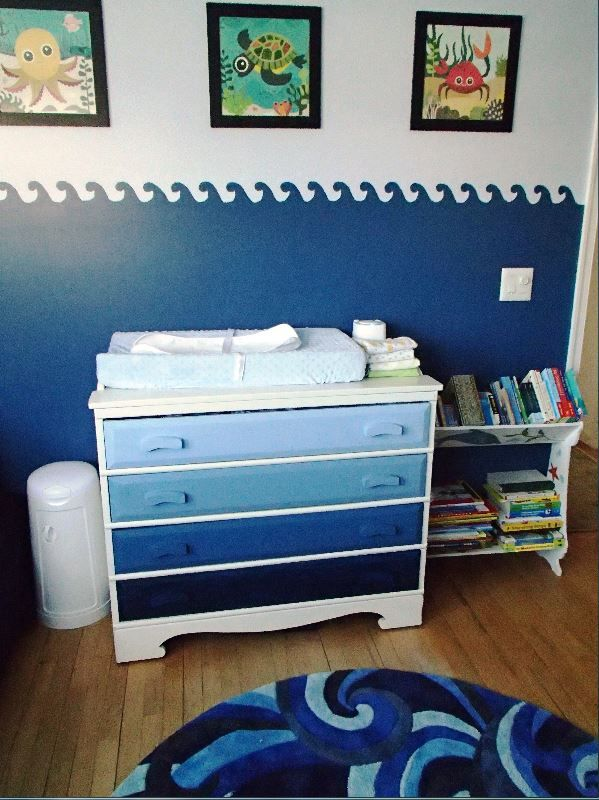 Our finished Under the Sea nursery for boy/girl twins