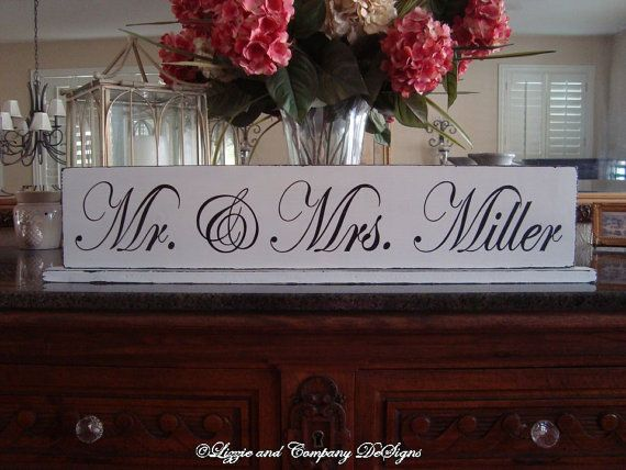 Mr & Mrs TaBLe SiGn - SweetHeaRT TaBle SiGn  by lizzieandcompany, etsy