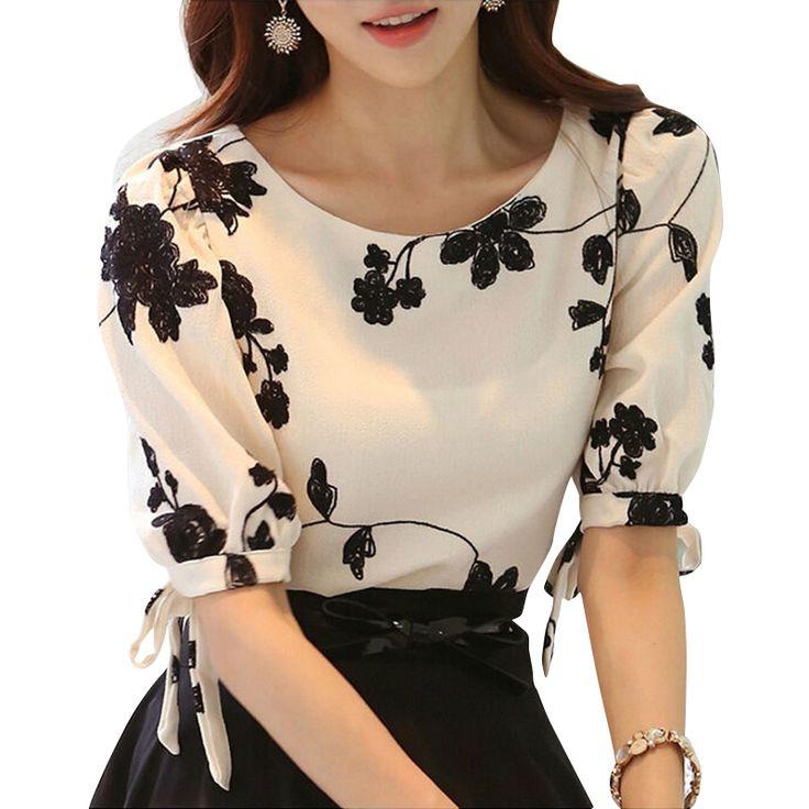 Aliexpress.com: Comprar Mujeres Camiseta Del Verano Superior Floral Bordado Negro Blanco Delgado Arco Media Camisa de Manga Blusa de La Gasa Ocasional Más Tamaño Ropa de Mujer de botón de la blusa fiable proveedores en East Show