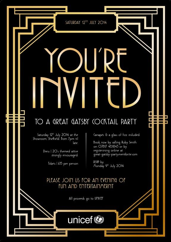 Good Evening Ladies Beautiful board last night Tonight you are – Great Gatsby Party Invitation