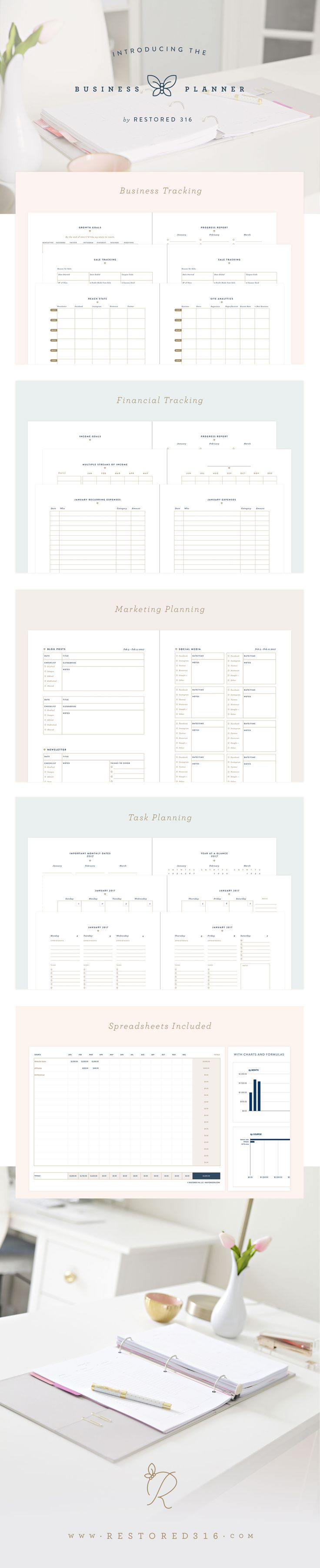 This amazing Business Planner is unique! It includes the planner, videos and spreadsheets to help you grow, track, organize and scale your business.