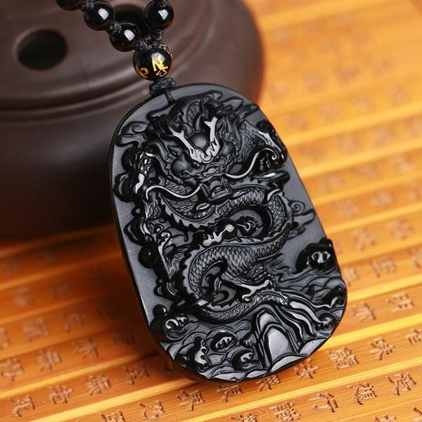 Dragon Amulet Necklace | Black Obsidian