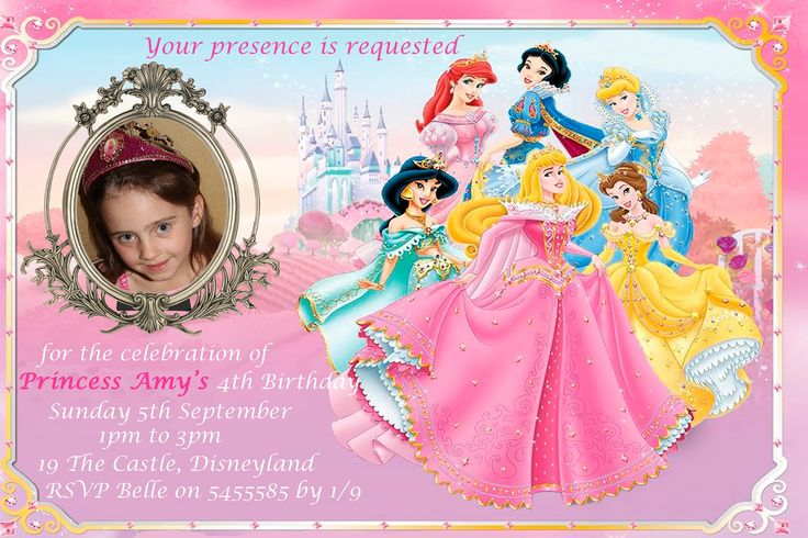 8 best invitation card images on pinterest princesses disney free disney princess invitations stopboris Image collections