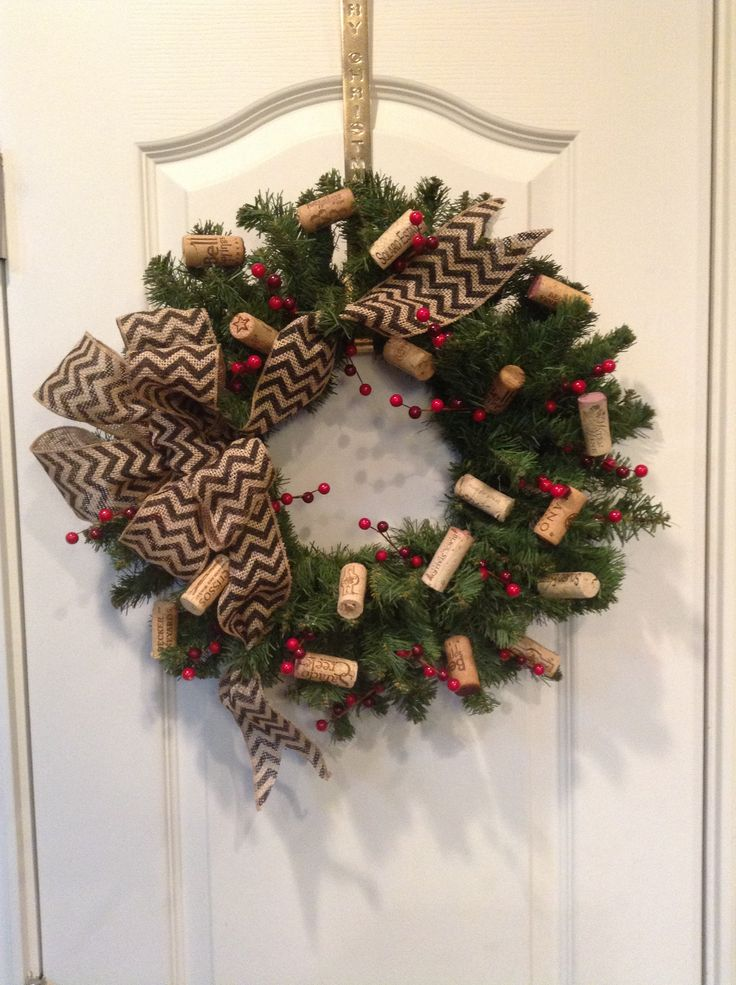 Wine Cork Christmas Wreath Wreaths Pinterest