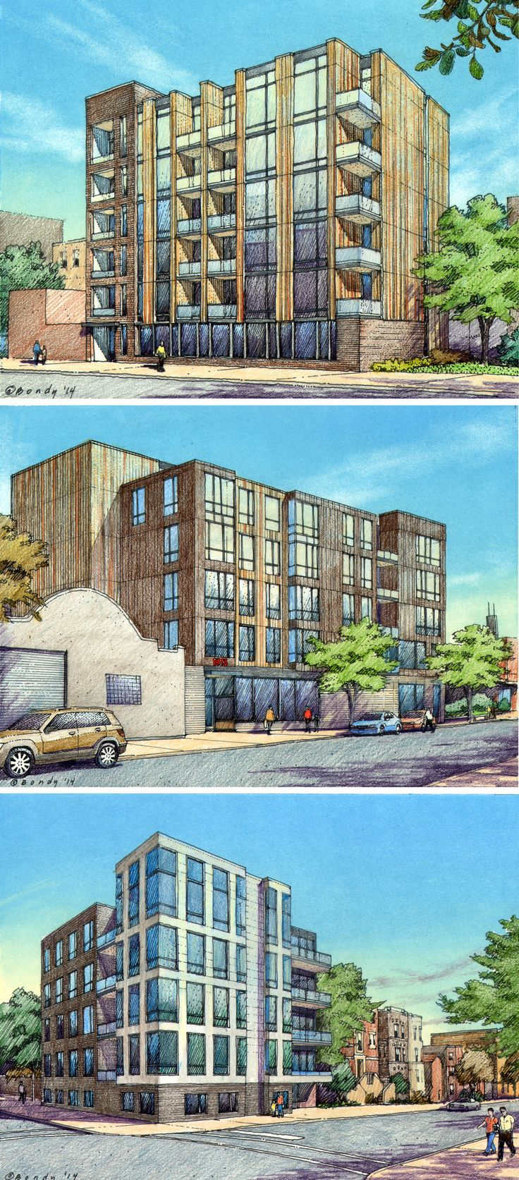 FitzGerald Associates.  3 Chicago sites.  12 hour charrette.  Drawings by Bruce Bondy, Bondy Studio.