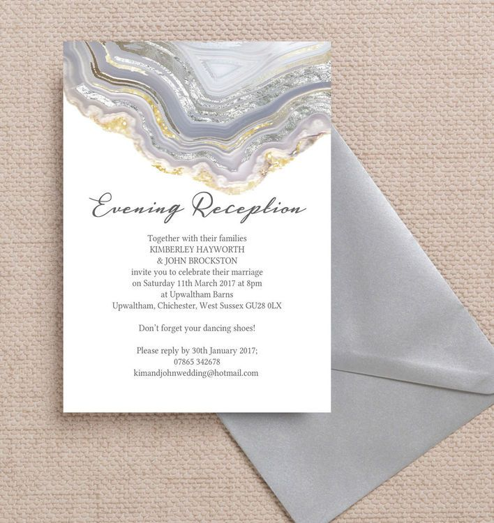 Agate Crystal Silver Grey Evening Reception Invitation. Printable PDF or professionally printed. Personlise online.