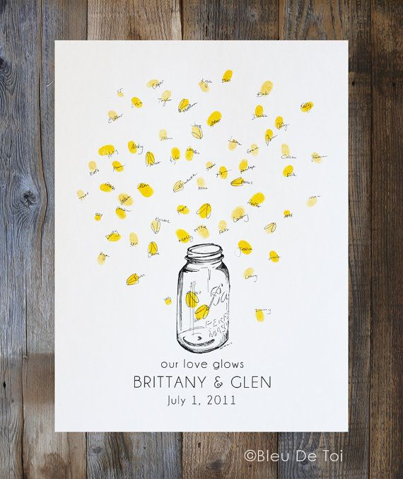 Fingerprint Wedding Guest Book, Mason jar with thumbprint fireflies, Country wedding Decor, like wedding fingerprint tree (w/ 1 ink pad)