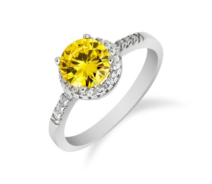 Stříbrný prsten s citrínovým kamínkem a zirkony