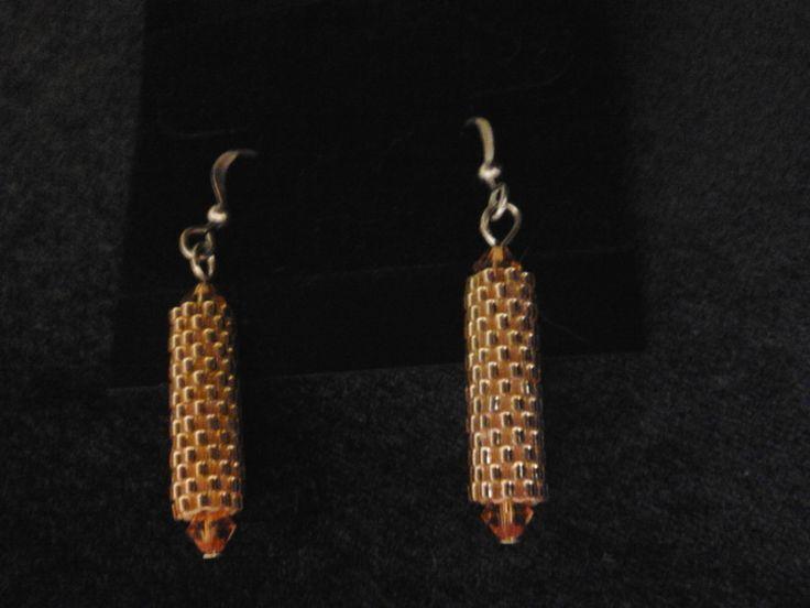 Peyote earrings gold color by joannezjewelry on Etsy