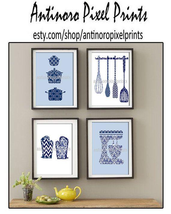 Damask Kitchen Tools Navy Blue White Art by antinoropixelprints, $25.00