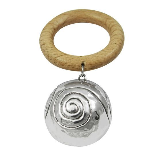 Baby rattle with miniature aryballos, inspired by an aryballoid vase. Dimensions: 5,5 cm x 10 cm Silver 999°.