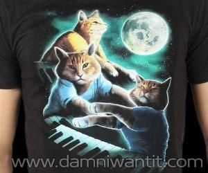 One of the funniest shirts ever featuring one of the internet's most popular old school memes: keyboard cat. Keyboard cat, together with other two of its friends have a midnight party and bask in the power of the full moon. This shirt will definitely impress your friends and will make you look cool.